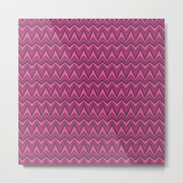 Chevron-Dark Pinkies Metal Print