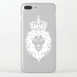 Tribal King White Lion Clear iPhone Case