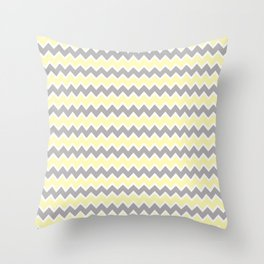 Grey Gray and Yellow Chevron Throw Pillow