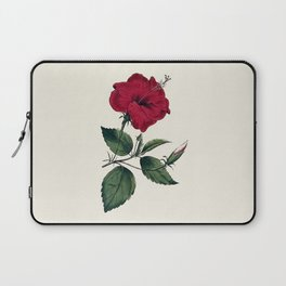 Vintage ivory white red green botanical flower Laptop Sleeve
