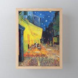 Vincent Van Gogh - Cafe Terrace at Night (new color edit) Framed Mini Art Print
