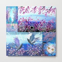 Cherry Blossom Collage Metal Print