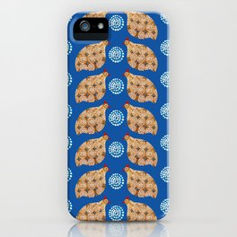 Gold guinea fowl pattern on blue iPhone Case
