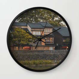 Kanazawa, Japan | Houses near the Asano River | Japanese city view | Travel Photography Art Print Wall Clock