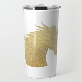 Gold Glitter Unicorn Travel Mug
