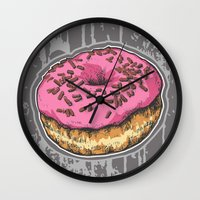 doughnut Wall Clocks featuring Doughnut by Katy V. Meehan