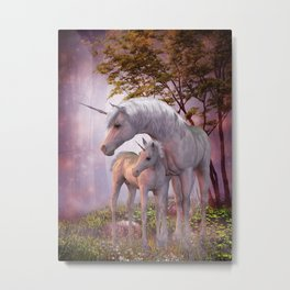 Enchanted Unicorns Metal Print