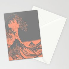 The Great Wave Peach & Gray Stationery Cards