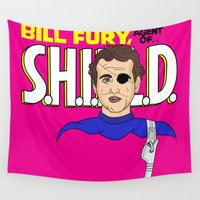 bill Wall Tapestries featuring Bill Fury by Chelsea Herrick