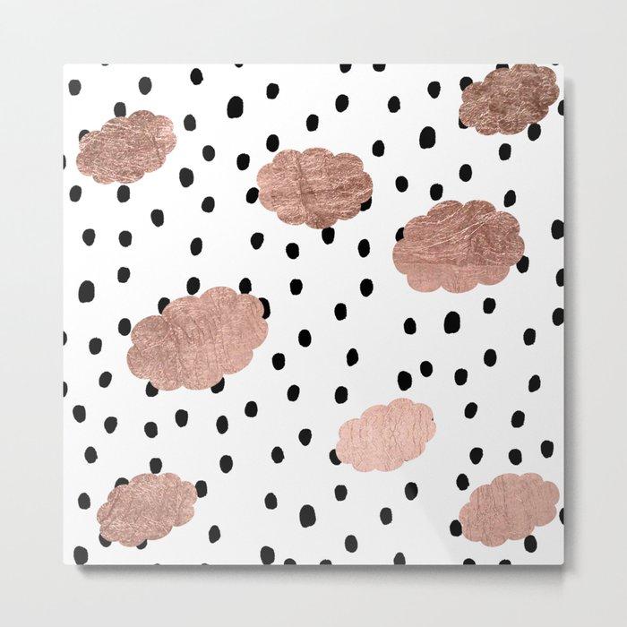 Modern rose gold clouds black rain polka dots pattern Metal Print