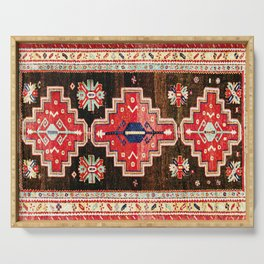 Antique Kazak Rug With 3 Medallions Print Serving Tray