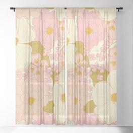 Pink Pastel Vintage Floral Pattern Sheer Curtain