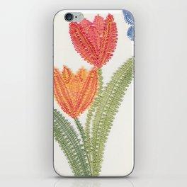 Tulipes et papillon en dentelle iPhone Skin