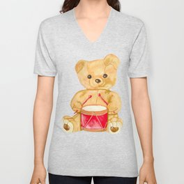 Drumming teddy bear Unisex V-Neck