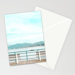 Travel photography Santa Monica III bench Stationery Cards