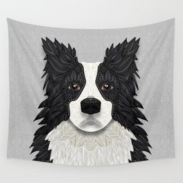Black Border Collie Wall Tapestry