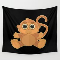 monkey Wall Tapestries featuring Monkey by Adamzworld