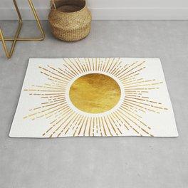 Golden Sunburst Starburst White Hot Rug