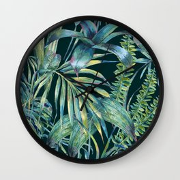 Watercolor green tropical leaves Wall Clock
