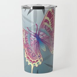 Unique Butterfly Bamboo leaves Pattern Travel Mug