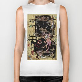 african illustration, people, feet and animals, exotic raster illustration Biker Tank