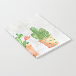 Three Green Cacti Watercolor White Notebook