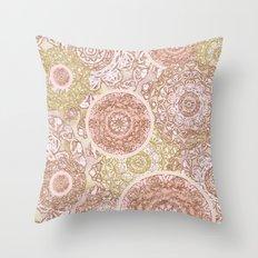 Rosey Gold Mandalas Throw Pillow