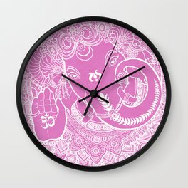 Ganesha Lineart White/pink Wall Clock