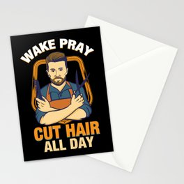 Wake Pray Cut Hair All Day - Funny Barber and Hairdresser Gifts Stationery Cards
