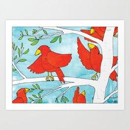 "Birds in a Tree, ""Commit"" Art Print"