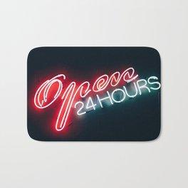 Open 24 hours neon sign Bath Mat