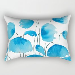 blue poppy field watercolor Rectangular Pillow