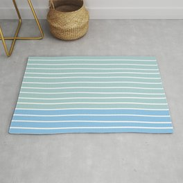 Colorful Stripes, Abstract, Blue and Teal, Geometric Art Rug