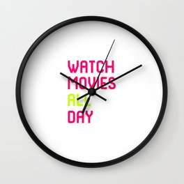 Watch Movies All Day Film School Quote Wall Clock