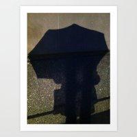 Umbrella Silhouette, NYC Art Print