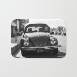 Hermosa Beach Surf Bug, Black and White Photography Print, Beach Art, South Bay Los Angeles Art Bath Mat