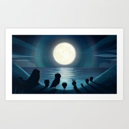 Moonlight hits Puffin Rock Art Print