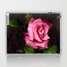 Pink Rose on Black Lace, Scanography Laptop & iPad Skin