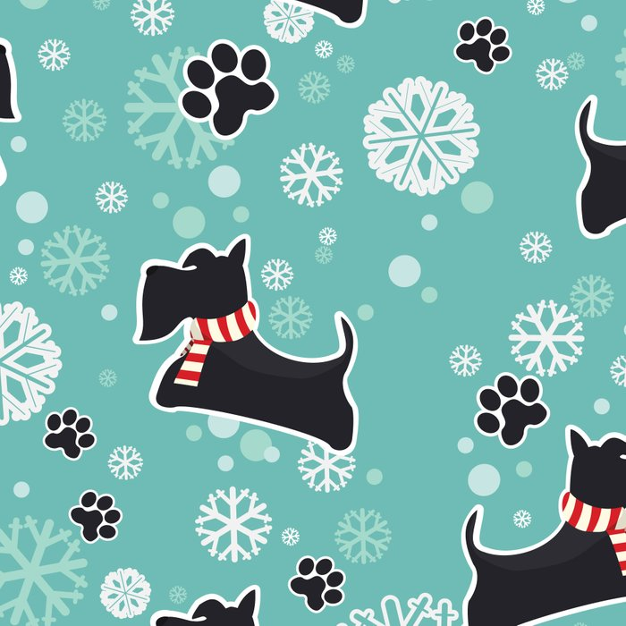 Snowy Scottie Dog Christmas Pattern Leggings