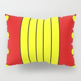 Abstract geometry of yellow shapes in red space Pillow Sham