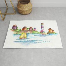 Lighthouse, Beach Decor, Sailboat Rug