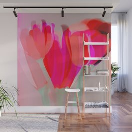 Tulips In Shades Of Red And Pink Wall Mural