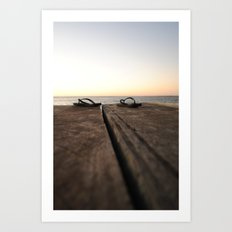 Jetty at sunset Art Print