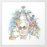 miyazaki Art Prints featuring Hayao Miyazaki by Josh Filhol Illustration