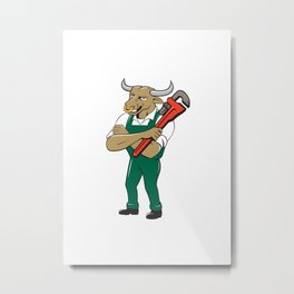 Bull Plumber Wrench Standing Isolated Cartoon Metal Print