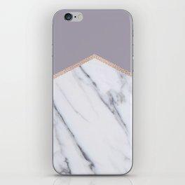 Smokey lilac - rose gold geometric marble iPhone Skin