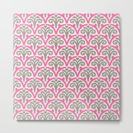 Floral Scallop Pattern Pink and Gray Metal Print