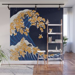Shiba Inu The Great Wave in Night Wall Mural