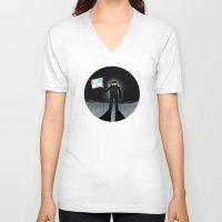 lunar V-neck T-shirts featuring Lunar Walk by Nick Wiinikka