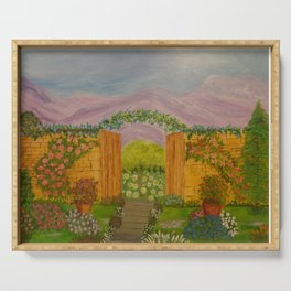 Beyond The Gate Acrylic Painting by Rosie Foshee Serving Tray